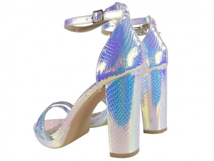 Silver iridescent women's sandals on a post - 2
