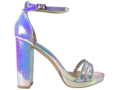 Silver iridescent women's sandals on a post - 1