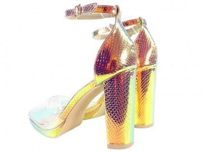 Złote opalizujące sandały damskie pasek kostka - 2