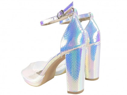 Women's silver iridescent ankle strap sandals - 2