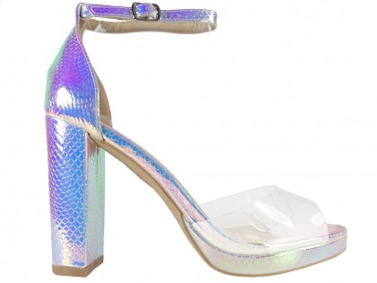 Women's silver iridescent ankle strap sandals - 1