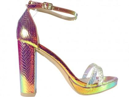 Złote opalizujące sandały damskie na słupku - 1