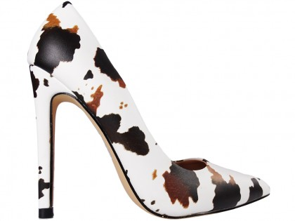 Women's high heels white and brown with black patches - 1