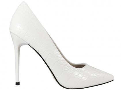 Fehér stiletto esküvői cipő eko bőr, mint a kígyó - 1