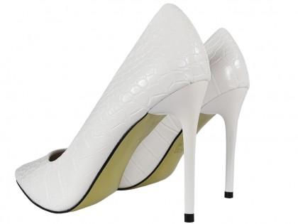 Fehér stiletto esküvői cipő eko bőr, mint a kígyó - 2
