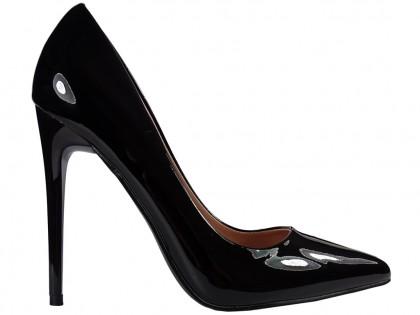 Női magas fekete tűsarkú cipő - 1