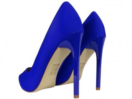 Női magas sarkú cipő kobaltkék - 2