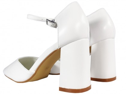 White matte wedding shoes with strap eco leather - 2
