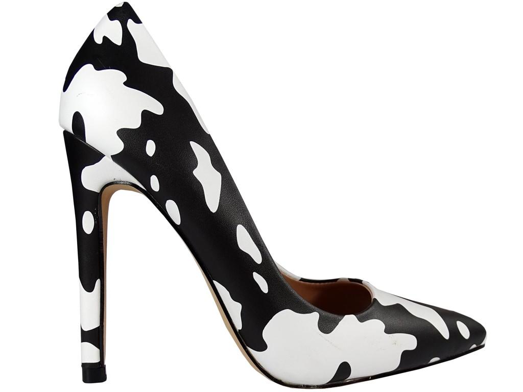 Women's white and black stiletto shoes - 1