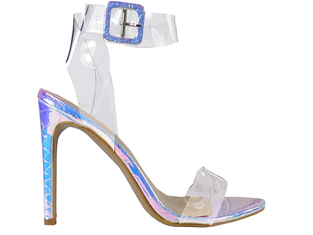 Sandały na szpilce srebrne opalizujące transprent