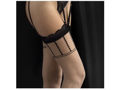 Flesh coloured stockings with black pattern - 2