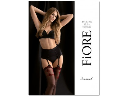 Black strapless stockings with red pattern - 1