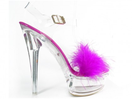 Pink transparent stiletto sandals with tinsel - 1