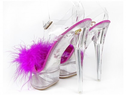 Pink transparent stiletto sandals with tinsel - 2