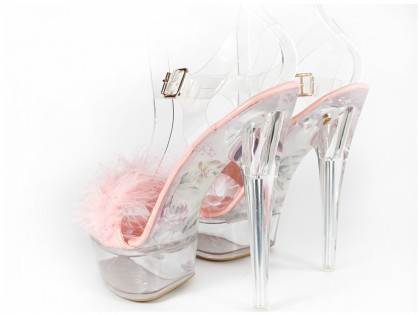 Pink transparent sandals with tinsel - 2