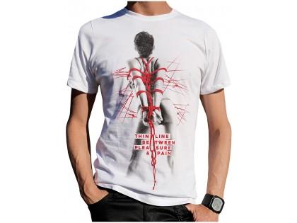 Men's white cotton t-shirt erotic pattern - 1