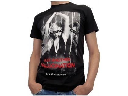 Férfi fekete póló erotikus nyomtatással - 1