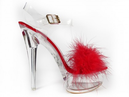 Red transparent stiletto sandals with tinsel - 1