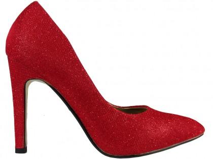 Czerwone brokatowe szpilki damskie - 1