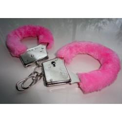 Kajdanki różowe z puszkiem sexy BDSM