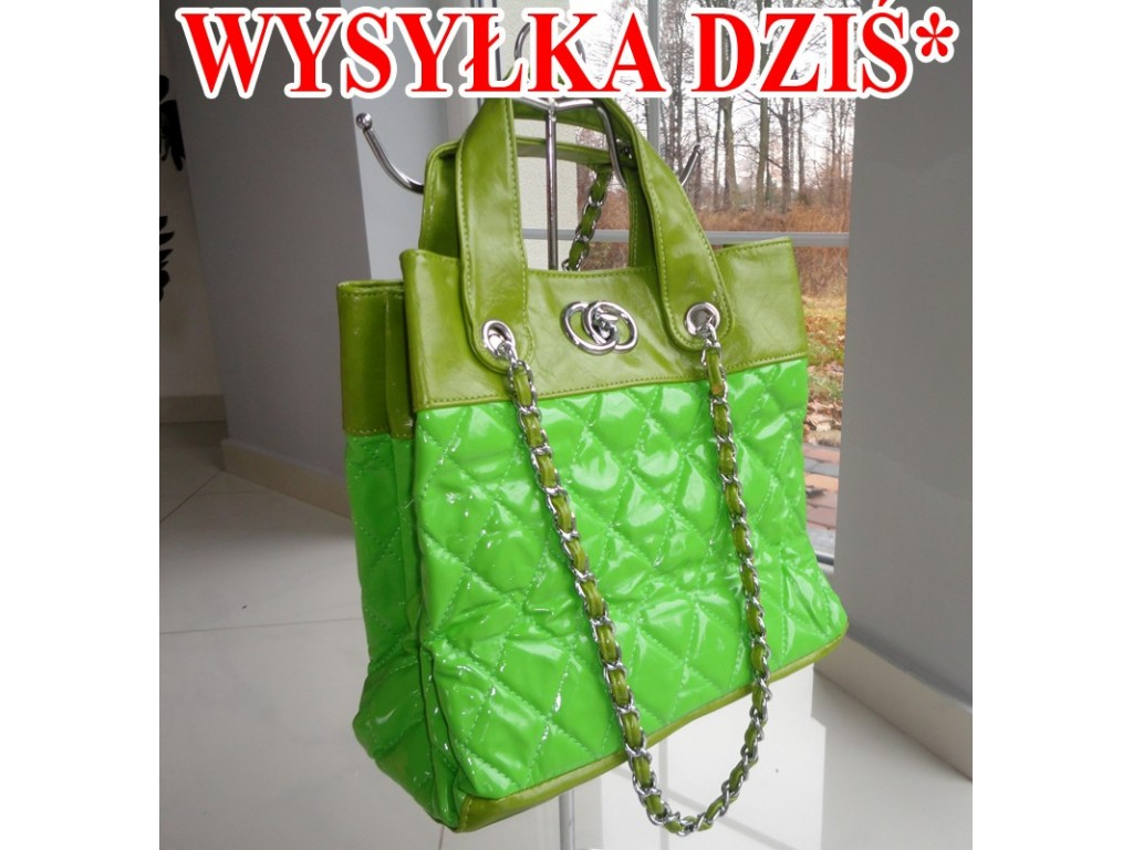 GREEN NEON BAG QUILTED CHAIN A4