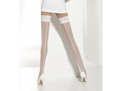 Wedding stockings 20 self-supporting bottoms with stitching - 2